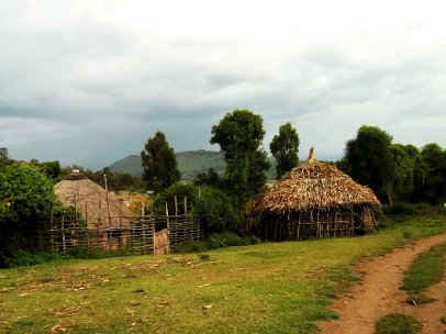 traditional hut - the roof is covered by corn leaves