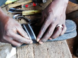 attaching the purchased stripes by the wires extracted from tires themselves