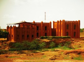 traditional narrative mande architecture with red mud plastering from Segou