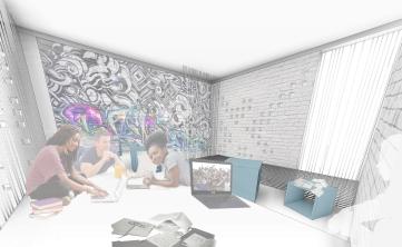 00jumphub - 3D View - ofis-in etage Copy 1 - vizu graffiti